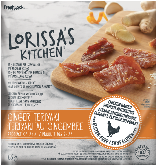 AT SELECT RETAILERS: Lorissa's Kitchen Protein Snack - Ginger Teriyaki