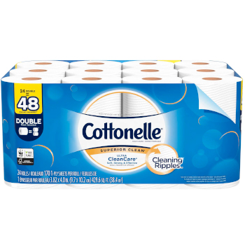 Cottonelle Ultra CleanCare Toilet Paper - 24 Double Rolls = 48 Regular Rolls